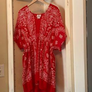 ARIAT Red Handkerchief Pattern blouse XXL